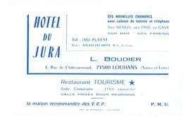 Carte De Visite Hôtel Du Jura, L. Boudier, Rue De Châteaurenaud, Louhans (juillet 1983) - Cartes De Visite