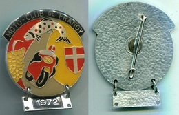 H839 INSIGNE MEDAILLE MOTO CLUB CONCENTRATION FRANGY 74 SAVOIE 1972 TRUITE SAUMON RAISIN - Motos