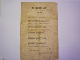 TOULOUSE  28 Février 1848  :  Pamphlet Républicain Adressé Au CITOYEN JOLY Commissaire Du Gouvernement Provisoire De ... - Old Paper