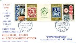 FRANCE FDC 1964 1 ER JOUR SUR LETTRE BANDE PHILATEC 1964 EDOUARD BERCK - 1960-1969