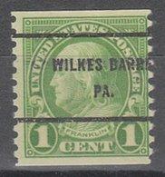 USA Precancel Vorausentwertung Preo, Bureau Pennsylvania, Wilkes-Barre 597-61 - Vereinigte Staaten