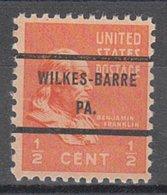 USA Precancel Vorausentwertung Preo, Bureau Pennsylvania, Wilkes-Barre 803-71 - Vereinigte Staaten
