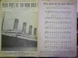 """En Souvenir Du Vaisseau  """" TITANIC """"  """"Plus Près De Toi Mon Dieu"""" Hymne Exécuté à Bord , La Nuit , Au Moment Du Naufrage - Old Paper"""