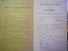 Assistance Publique Des Hautes-Pyrénées :  LIVRET De Mère Indigente Secourue  -  ASQUE  1908   XXXX - Old Paper