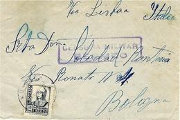 """Date Imprécise -enveloppe  Pour Bologne   """" Via Lisboa """"  - CENSRA MILITAR / BERMEO - 1931-Hoy: 2ª República - ... Juan Carlos I"""