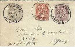 1915- Env. Carte De Visite Affr. Blanc Oblit. De THANN / ALSACE - Marcophilie (Lettres)