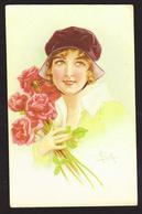 ILLUSTRATEUR Initiales A. C. M. - Femme - Bouquet De Roses - Ilustradores & Fotógrafos