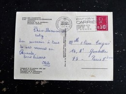 CHASSENEUIL SUR BONNIEURE - CHARENTE - FLAMME CARRIERE PTT SUR MARIANNE BEQUET - MEMORIAL RESISTANCE - Marcophilie (Lettres)