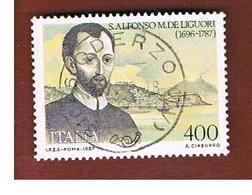 ITALIA REPUBBLICA  - SASS. 1807  -      1987    SAN ALFONSO DE LIGUORI   -      USATO - 6. 1946-.. República