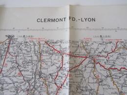 Carte Routière War Office N°73 Michelin 1943 WW2 Clermont-Ferrand - Lyon - 1939-45