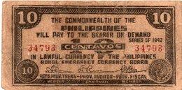 FILIPPINE 10 CENTAVOS 1942 -BOHOL EMERGENCY CURRENCY BOARD - Filippine