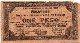 FILIPPINE ONE PESO 1943 -BOHOL EMERGENCY CURRENCY BOARD - Filippine