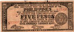 FILIPPINE 5 PESOS 1942 -BOHOL EMERGENCY CURRENCY BOARD - Philippines