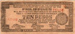 FILIPPINE 10 PESOS 1942 -BOHOL EMERGENCY CURRENCY BOARD - Filippine