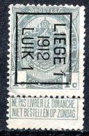 BE  PRE23 B   ---  LIEGE  1912 - 1c - Prematasellados