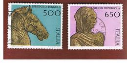 ITALIA REPUBBLICA  - UNIF. 1855.1856      -      1988    BRONZI DI PERGOLA:         -      USATO - 6. 1946-.. República