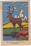 Chromo/image En Carton - Un Esquimau Guette Le Renne, Cherchez Le - Trade Cards