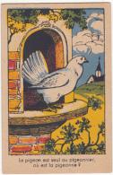 Chromo/image En Carton - Le Pigeon Est Seul Au Pigeonnier, Où Est La Pigeonne? - Trade Cards