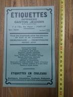 PUBLICITE 1934 ETIQUETTES GASTON JEANBIN RUE RIQUET PARIS - Collections