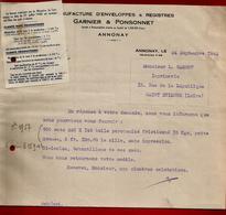 Courrier Manufacture Enveloppes & Registres Garnier & Ponsonnet Annonay 24-09-1942 Pour Carrot Imprimerie St Etienne - 1900 – 1949
