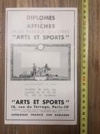 PUBLICITE 1934 DIPLOMES AFFICHES ARTS ET SPORTS RUE DU TERRAGE PARIS CORNISEROC BOTZARIS - Collections