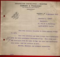 Courrier Manufacture Enveloppes & Registres Garnier & Ponsonnet Annonay 3-09-1942 Pour Carrot Imprimerie St Etienne - 1900 – 1949