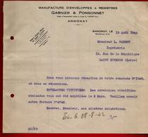 Courrier Manufacture Enveloppes & Registres Garnier & Ponsonnet Annonay 19-08-1942 Pour Carrot Imprimerie St Etienne - 1900 – 1949