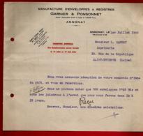 Courrier Manufacture Enveloppes & Registres Garnier & Ponsonnet Annonay 1-07-1942 Pour Carrot Imprimerie St Etienne - 1900 – 1949