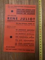 PUBLICITE 1934 LES ATELIERS RENE JULIOT RUE SAINT DENIS PARIS GEORGES DEGAAST FROT FONTENAY SOUS BOIS - Collections