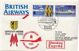 Postal History: Germany / DDR Postal Stationery Cover British Airways Concorde Leipzig - London - Concorde