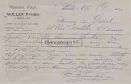 54 1001 LUNEVILLE MEURTHE ET MOSELLE 1920 VERRERIE D ART MULLER FRERES Et PARIS Rue Du Paradis A GAREL - 1900 – 1949