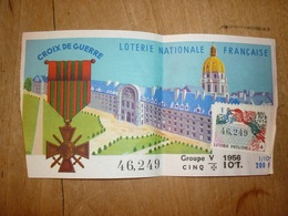 8 - 103 Loterie Nationale Française 1956 Croix De Guerre Groupe V 10e Tranche - Lottery Tickets