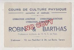 Au Plus Rapide Carte De Visite Robin Et Barthas Culture Physique Tarare - Visiting Cards