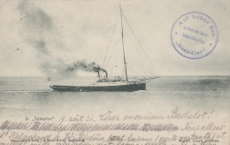 "Allemagne - Bâteau Vapeur ""Seeadler"" - Croisière Heligoland à Wittdün - Cachets Bâteau 1901 Wittdun Briollay - Nordfriesland"