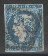 France - YT 44A - 20c Bleu Oblitéré GC 359 Bayonne Pyrénées Atlantiques - 1870 Bordeaux Printing