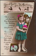 Lots Of Love For Your 7th Birthday, 1936 - RP Postcard - Birthday