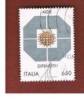 ITALIA REPUBBLICA  - SASS. 1855   -      1989     LOTTA CONTRO L' AIDS  -      USATO - 6. 1946-.. Repubblica