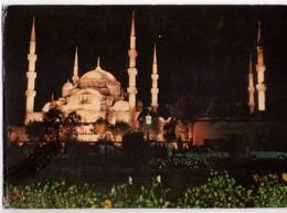 U2694 Postcard: ISTANBUL, SULTANAHMET CAMII - MOSQUE, MOSQUEE, MOSCHEA - NUIT NOCTURNE NOTTURNO_ WRITED - Turchia