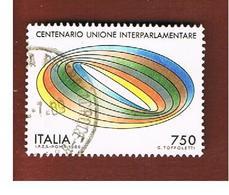 ITALIA REPUBBLICA  - SASS. 1876    -      1989    UNIONE INTERPARLAMENTARE -      USATO - 1946-.. Republiek