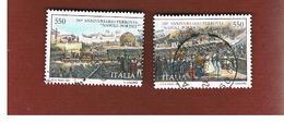 ITALIA REPUBBLICA  - SASS. 1880.1881    -      1989    FERROVIA NAPOLI PORTICI  -      USATO - 6. 1946-.. República