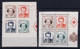 Monaco:  Yv 334A + 337A  334B - 337B Postfrisch/neuf Sans Charniere /MNH/**   1949 - Monaco