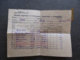 USSR RUSSIA ESTONIA ,  DOCUMENT  TO GULAG REPRESSION CONCENTRATION CAMP PRISONER 0 - Old Paper