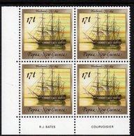 PAPUA NEW GUINEA, 1987  17t SHIP IMPRINT CNR BLOCK 4 MNH - Papua New Guinea