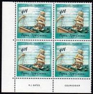 PAPUA NEW GUINEA, 1987  40t SHIP IMPRINT CNR BLOCK 4 MNH - Papua New Guinea