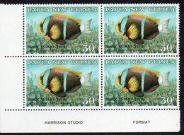 PAPUA NEW GUINEA, 1987  30t FISH IMPRINT CNR BLOCK 4 MNH - Papua New Guinea