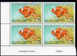 PAPUA NEW GUINEA, 1987  70t FISH IMPRINT CNR BLOCK 4 MNH - Papua New Guinea