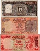 INDIA-LOTTO 3 BANCONOTE - India
