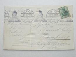 1913 , LEIPZIG - Völkerschlacht , Klarer Stempel  Maschinenstempel Auf Karte - Brieven En Documenten