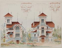 PLANCE ARCHITECTURE L'HABITATION PRATIQUE 38.5X31.5 CM - VILLA A ENGHIEN LES BAINS   - ARCH= M.THION & FILS_ 2 SCANS - Architecture