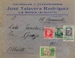 1938 , ALICANTE , SOBRE COMERCIAL CERTIFICADO ENTRE ORIHUELA Y ALBACETE - 1931-Hoy: 2ª República - ... Juan Carlos I